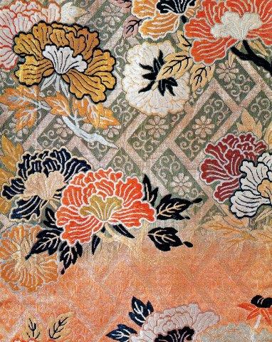 image of peony in Japanese weaving 2