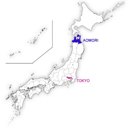 map_japan aomori and Tokyo